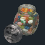 "World&#39;s Most Awesome Nurse Jelly Belly Candy Jar<br><div class=""desc"">A fun gift to honor the world&#39;s most awesome nurse with.</div>"