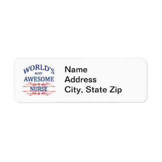 World's Most Awesome Nurse Label