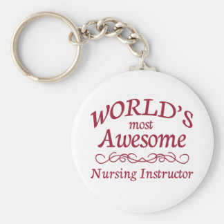World's Most Awesome Nursing Instructor Basic Round Button Keychain