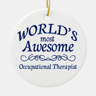 World's Most Awesome Occupational Therapist Double-Sided Ceramic Round Christmas Ornament