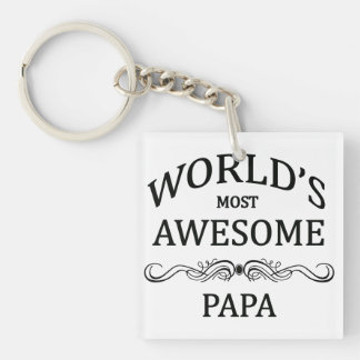 World's Most Awesome Papa Keychain