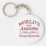 World's Most Awesome Paraprofessional Basic Round Button Keychain