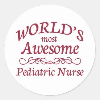 World's Most Awesome Pediatric Nurse Classic Round Sticker