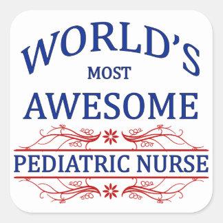 World's Most Awesome Pediatric Nurse Square Sticker