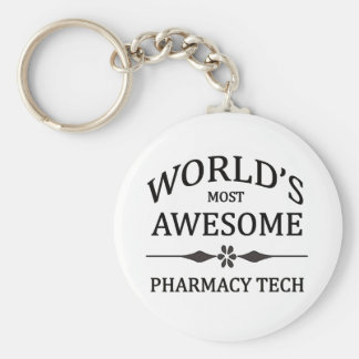 World's Most Awesome Pharmacy Tech Basic Round Button Keychain