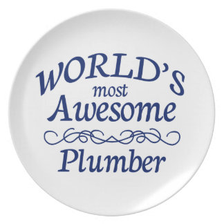 World's Most Awesome Plumber Melamine Plate