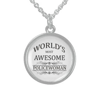 World's Most Awesome Police Woman Sterling Silver Necklace