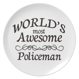 World's Most Awesome Policeman Melamine Plate