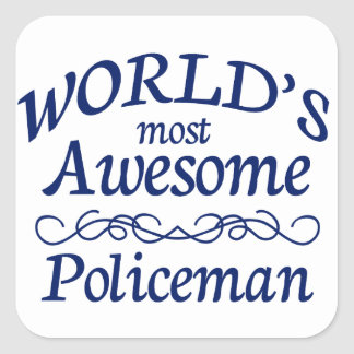 World's Most Awesome Policeman Square Sticker