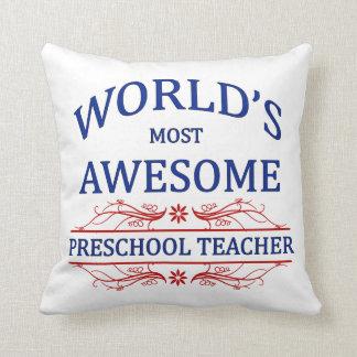 World's Most Awesome Preschool Teacher Throw Pillow