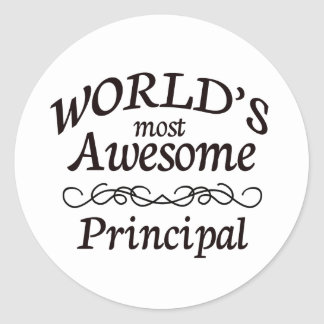 World's Most Awesome Principal Classic Round Sticker