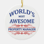 World's Most Awesome Property Manager Double-Sided Ceramic Round Christmas Ornament