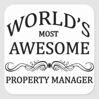 World's Most Awesome Property Manager Square Sticker