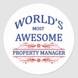 World's Most Awesome Property Manager Round Sticker
