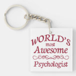 World's Most Awesome Psychologist Single-Sided Square Acrylic Keychain