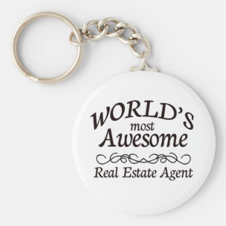 World's Most Awesome Real Estate Agent Basic Round Button Keychain