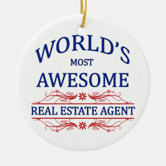 World's Most Awesome Real Estate Agent Double-Sided Ceramic Round Christmas Ornament