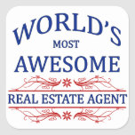 World's Most Awesome Real Estate Agent Square Sticker