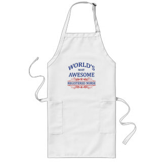 World's Most Awesome Registered Nurse Long Apron