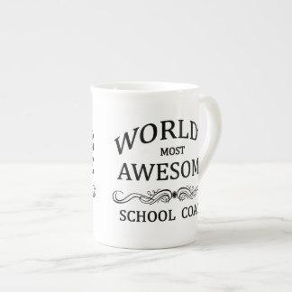 World's Most Awesome School Coach Porcelain Mug
