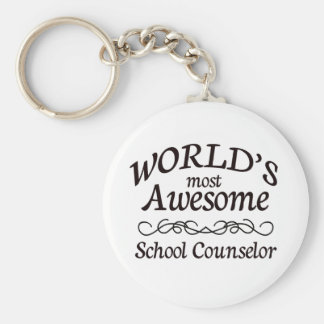 World's Most Awesome School Counselor Basic Round Button Keychain