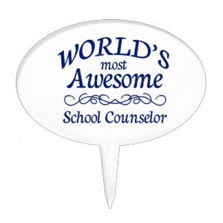 World's Most Awesome School Counselor Cake Topper