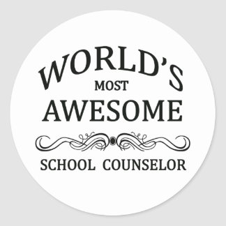 World's Most Awesome School Counselor Classic Round Sticker