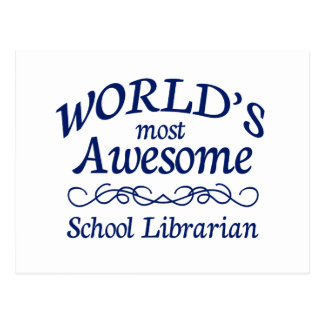 World's Most Awesome School Librarian Postcard