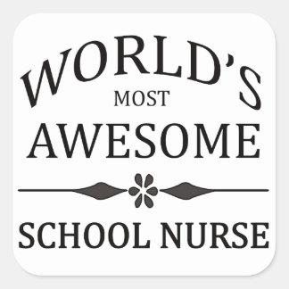 World's Most Awesome School Nurse Square Sticker