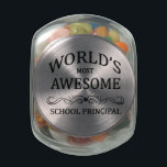 "World&#39;s Most Awesome School Principal Glass Candy Jar<br><div class=""desc"">A fun gift to honor the world&#39;s most awesome school principal with.</div>"