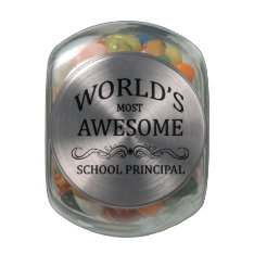 World's Most Awesome School Principal Glass Candy Jar at Zazzle