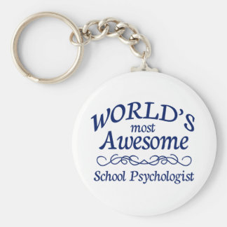 World's Most Awesome School Psychologist Basic Round Button Keychain