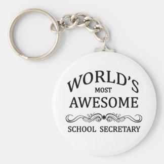 World's Most Awesome School Secretary Basic Round Button Keychain