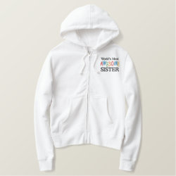 Women's Embroidered Basic Zip Hoodie with Embroidered Sister Gifts design