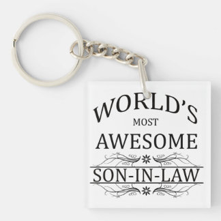 World's Most Awesome Son-in-Law Single-Sided Square Acrylic Keychain