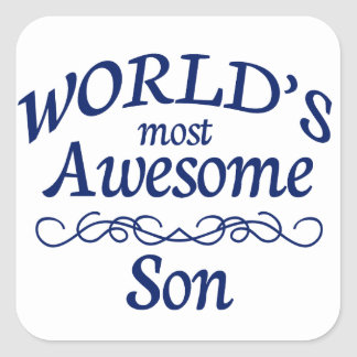 World's Most Awesome Son Square Sticker