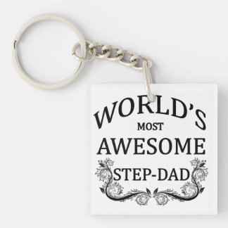 World's Most Awesome Step-Dad Keychain