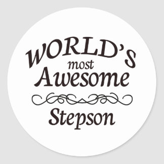 World's Most Awesome Stepson Classic Round Sticker