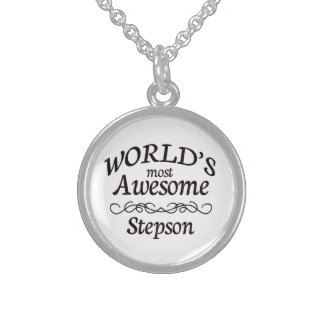 World's Most Awesome Stepson Round Pendant Necklace