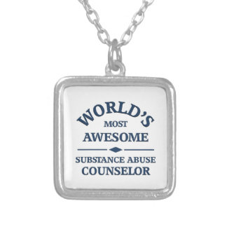 World's most awesome substance abuse counselor silver plated necklace