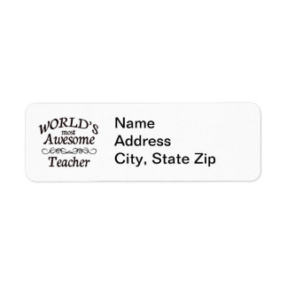 World's Most Awesome Teacher Label