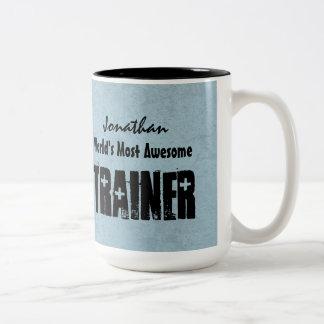 World's Most Awesome TRAINER Blue Grunge V14 Coffee Mug