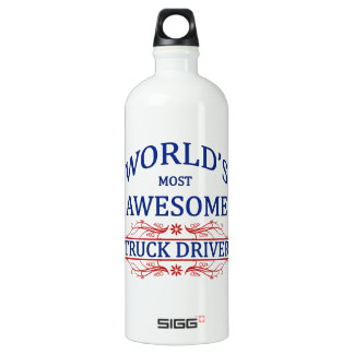 World's Most Awesome Truck Driver Aluminum Water Bottle