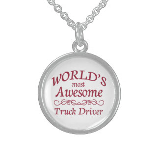 World's Most Awesome Truck Driver Sterling Silver Necklace