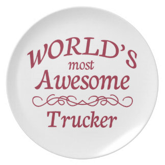 World's Most Awesome Trucker Dinner Plate