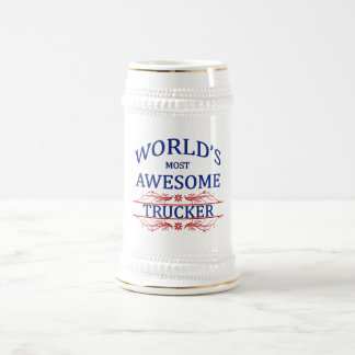 World's Most Awesome Trucker 18 Oz Beer Stein