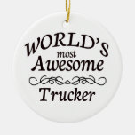 World's Most Awesome Trucker Double-Sided Ceramic Round Christmas Ornament