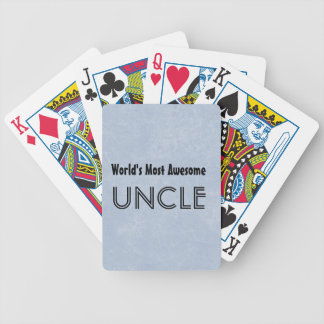 Worlds Most Awesome Uncle Blue Grunge Gift Item Bicycle Playing Cards