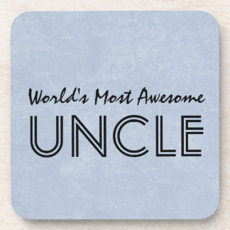 Worlds Most Awesome Uncle Blue Grunge Gift Item Coaster