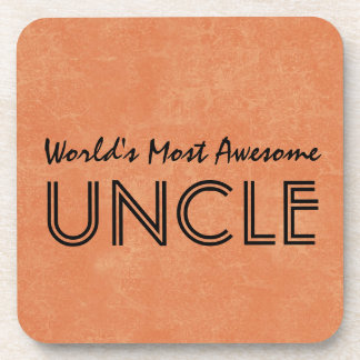 Worlds Most Awesome Uncle Home Gift Item Drink Coaster